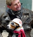 One man and his dog at the Bristol Bikers Rally