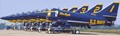 Blue Angel Skyhawks lined up prior to flying at an air show.
