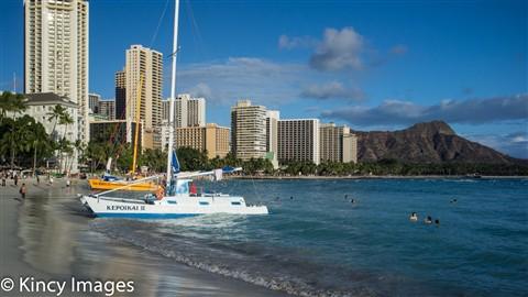 Catamarans on Waikiki Beach