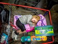Sleeping in shopping cart