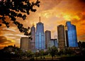 Melbourne - Australia - Before the night falls the sun sets over the city