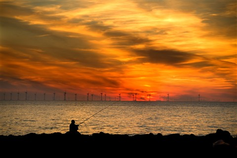 fisherman earnse turbines sunset