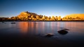 Low angle shot of Ksar Aït Benhaddou from across the river, using 3 stones and a wood stick as a tripod.