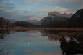 Full moon over Rundle Mountain