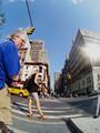 On a zebra crossing, NY city.