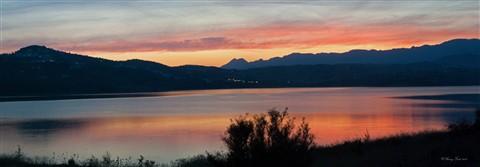 Sunset on lake Viñuela small