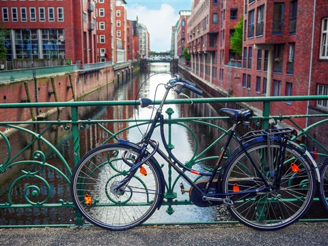 Canal, bridge, bicycle