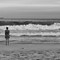 Girl on the beach straight B&W 2