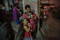 Where people eat-mother ,girl child,on way