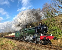 """Witherslack Hall"" steam locomotive at Orchard Crossing, Worcestershire, England."
