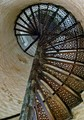 Spiral staircase in old lighthouse on Big Charity Island located in Lake Huron, Michigan.