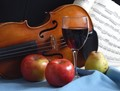 Fruit, wine and a violin