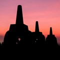 Three stupas at Borobudur