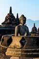 Praying Buddha inside Borobudur stupa