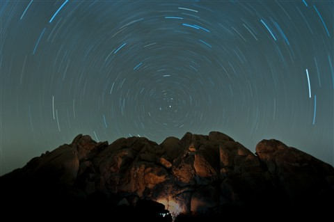 Star Trails, Indian Cove Campground, Joshua Tree N.P.