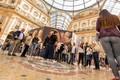 Milan, Galleria Vittorio Emanuele III. it brings luck turning above the bull