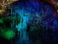 Illuminated cave in Mallorca