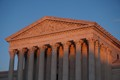 Sunset hitting the columns of the Supreme Court in Washington D.C
