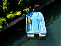Blue boat from above