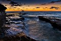 Last Light at Muriwai Beach, New Zealand, looking west over the Pacific Ocean or Tasman Sea