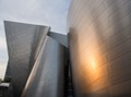 Curved stainless steel surfaces of the Walt Disney Concert Hall, Los Angeles