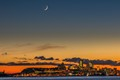 Sunset and moon over Quebec city
