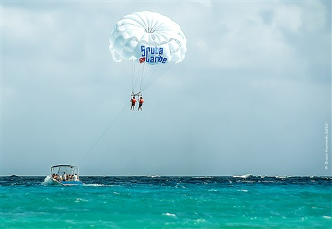 Parasailing in a seaside paradise