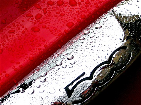 Wet Red Fiat 500