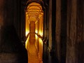 The Basilica Cistern (ad 532) lies beneath the city of Istanbul, Turkey. This cathedral-size cistern is an underground chamber approximately 138 metres by 64.6 metres - about 9,800 square metres in area - capable of holding 80,000 cubic metres of water. The ceiling is supported by a forest of 336 marble columns, each 9 metres high, arranged in 12 rows of 28 columns each spaced 4.9 metres apart. The music sounded mystical a truly beautiful place.