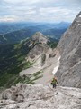 Climbing the Johann ferrata on the way to mount Dachstein (2.995m and highest mountain of Styria / Austria)