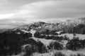 Dreamy snowy landscape taken from ski pension during winter morning. Reminds me of painings of kitch landscape painters