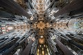 Sagrada Familia, Barcelona, look at the roof from inside