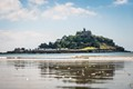 St Michael's Mount in Marazion, Corwall reflected in the beach at low tide