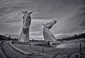 "Time stack of the Kelpies sculpture in Falkirk, Scotland.  Blend of 300 images taken at 3 second intervals to create the ""paintbrush"" sky effect."