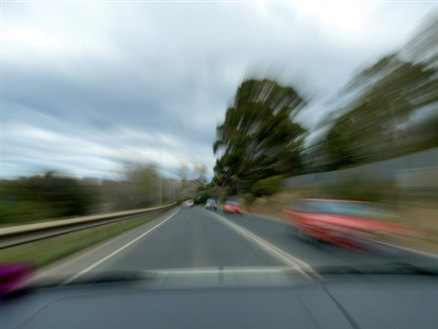 Zooming down the road
