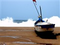 Boat on the beach: Bhogve beach Kokan-India