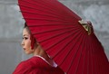Japanese Woman With Red Umbrella
