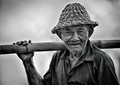 HDR-portrait of old rice farmer in Bali