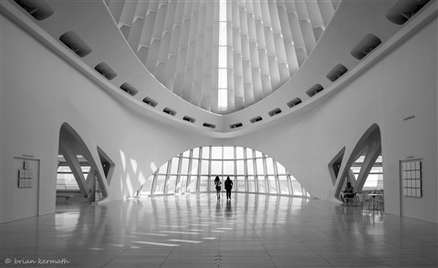 Inside one of Santiago Calatrava's architectural masterpieces (black-and-white version)