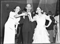 Nina Raievska (left) and Valentina Blinova with Arnold Haskell; Russian Ballet at JC Williamson New Year Party, Sydney, 31 December 1936 / Sam Hood