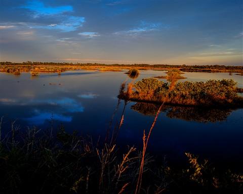 Sunset over Blackpoint Drive in Merritt Island Wildlife Refuge