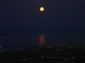 full moon over santorini