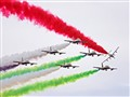 Smoke trails left by the United Arab Emirates aerobatic team