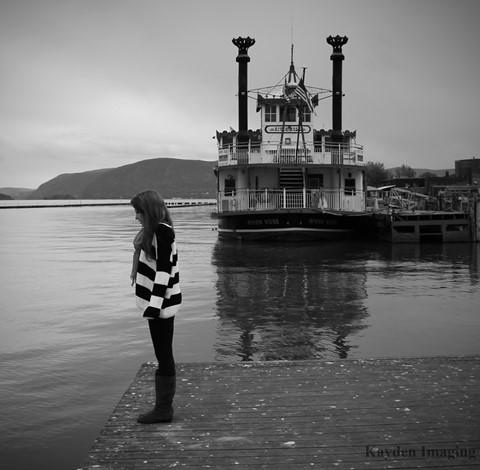 Kathleen on Pier B&W