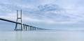 The longest bridge in Europe. It seems, that it goes over the sea, but in fact  it is the Tagus river, which is more than 12 km wide at this point. Portugal, Lisbon.
