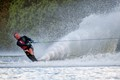 Water skier at the Scottish National Ski Centre in Townhill, Fife