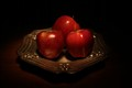 Apples in silver plate