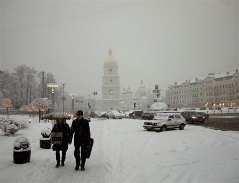 Snowfall in Kiev