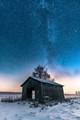 Old barn under the stars