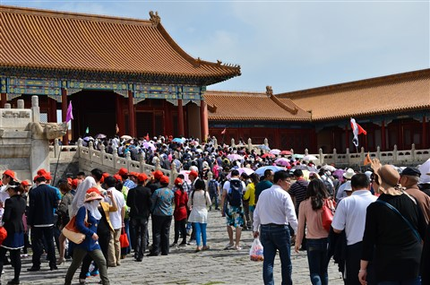 Tourists jam at Forbidden City